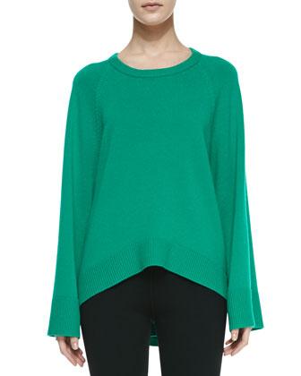 Arch-Hem Cashmere Tunic, Emerald