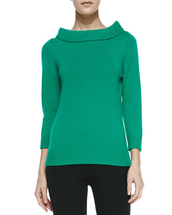 Cashmere Cuff-Neck Sweater, Emerald