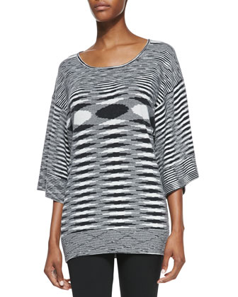 Cashmere Space-dye Kimono Top, Black/White