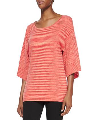 Cashmere Space-dye Kimono Top, Coral