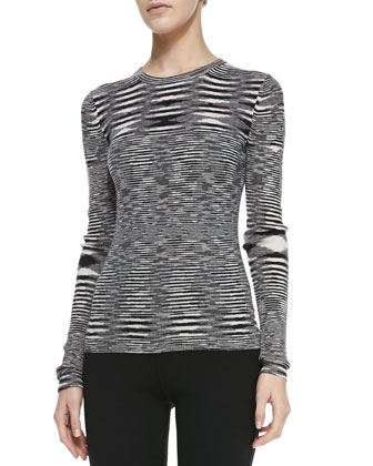 Space-dye Cashmere Long-Sleeve Top, Black/White