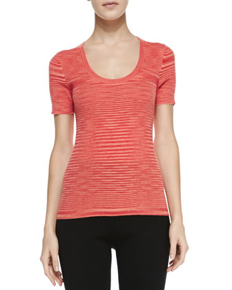 Space-dye Cashmere Short-Sleeve Top, Coral