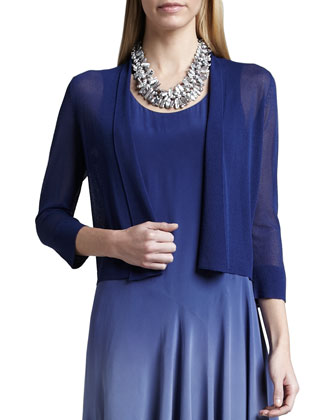 Gossamer Crepe Cardigan & Ombre Silk Long Dress, Sapphire, Petite