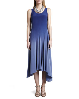 Ombre Silk Long Dress, Sapphire