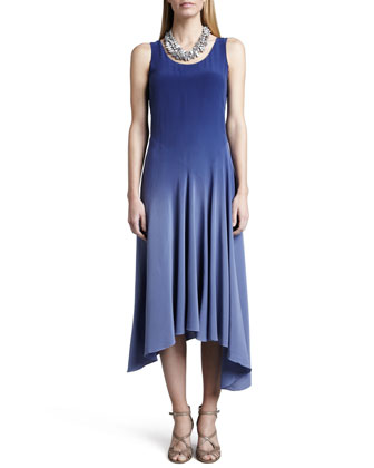 Ombre Silk Long Dress, Sapphire, Women's