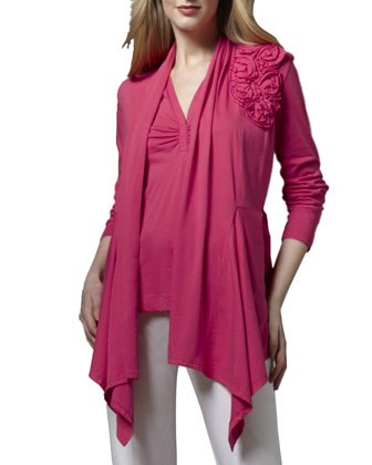 Rosette Draped Cardigan & Ruched V-Neck Tank