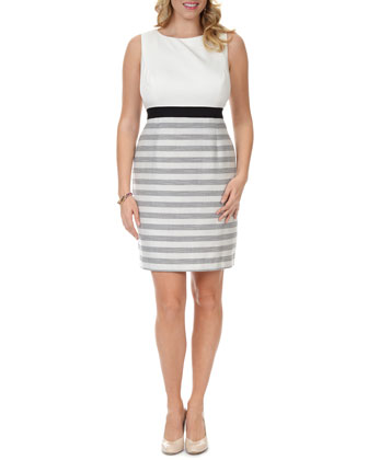 3/4-Sleeve Striped Cropped Jacket & Sleeveless Striped-Skirt Dress, Women's