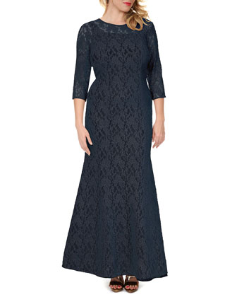 3/4-Sleeve Lace Mermaid Gown, Women's