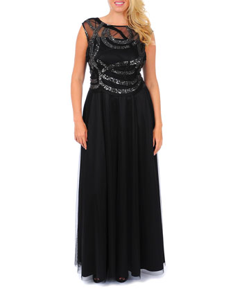 Cap-Sleeve Beaded Swirled Gown, Women's