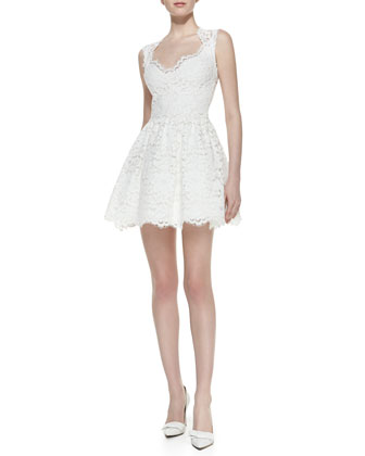 Antilles Lace Scallop-Detail Sleeveless Dress