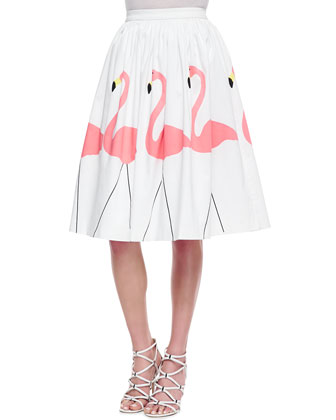 Rolled-Sleeve Front-Pocket Tee & Hale Middie Flamingo-Print Skirt