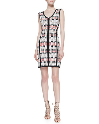 Fierce Printed Solid-Trim Knit Sheath Dress