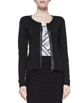Wild Card Leather-Trim Cardigan, Spirited Printed-Front Slub Tank & Sojourn ...