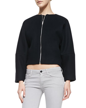 Cropped Wool Bomber Jacket & Powerskinny Denim Jeans
