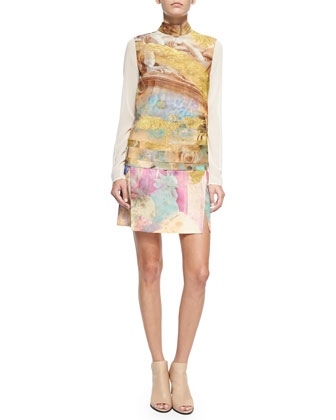 Mixed-Print Silk Panel Dress