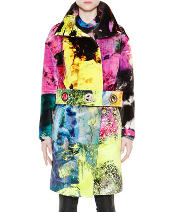 Multicolor Coat With Grommet Belt