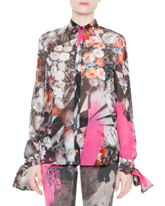 Long-Sleeve Floral-Print Tie-Cuff Blouse