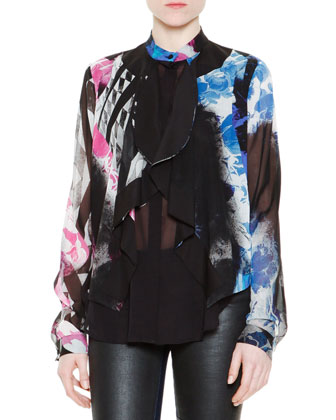 Printed Double-Layer Scallop-Front Silk Blouse