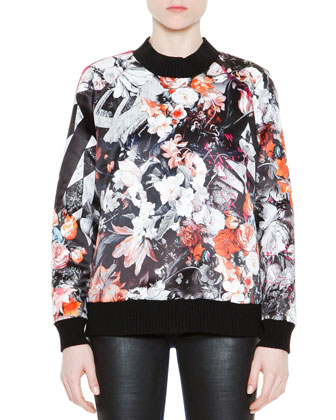 Floral-Print Sweatshirt with Painted Back