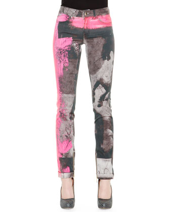 Long-Sleeve Floral-Print Tie-Cuff Blouse & Spray-Paint Printed Slim Jeans