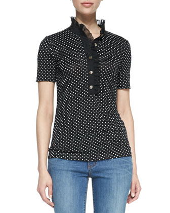 Brigitte Cotton Short-Sleeve Polo