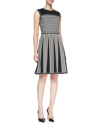 Monique Sleeveless Tuck-Stitch Cotton Dress