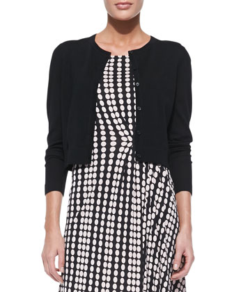 Petite Simone Button-Down Cardigan & Liana Polka-Dot Dress