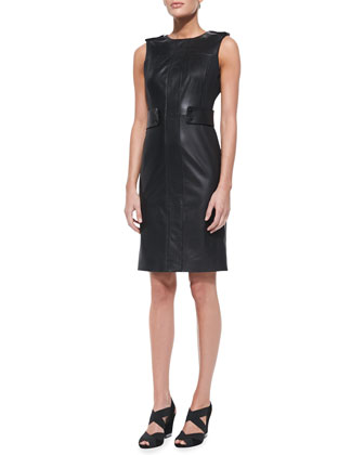 Luisa Sleeveless Leather & Ponte Dress