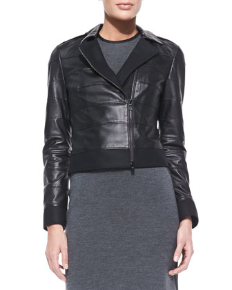 Lila Tiered Leather Jacket & Marcia Sleeveless Sheath Dress With Piping ...