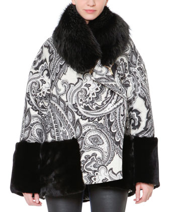 Paisley Jacquard Rabbit Fur-Trim Jacket