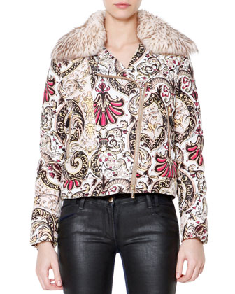 Fur Collar Scroll-Print Puffer Coat
