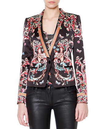 Floral Print Long-Sleeve Satin Blazer