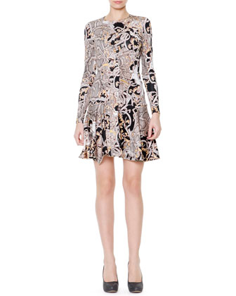 Reptile & Varsavia-Print Fit & Flare Dress