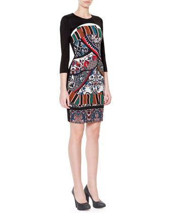 3/4-Sleeve Printed Front Sheath Dress