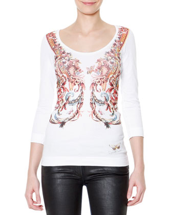 3/4-Sleeve Scroll-Print T-Shirt