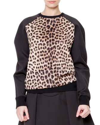 Leopard-Print Raglan Sweatshirt and Flared Scuba Skirt