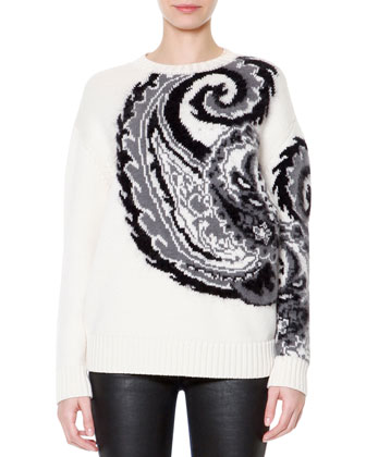 Jacquard Rabbit Fur-Trim Jacket, Wool-Blend Paisley Jacquard Sweater & ...
