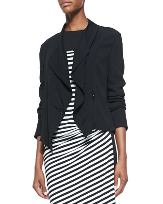 Long-Sleeve Cropped Jacket & Striped Draped-Front Dress