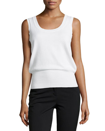 Sleeveless Cashmere Top, White