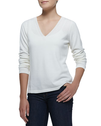 V-Neck Pullover Cashmere Sweater