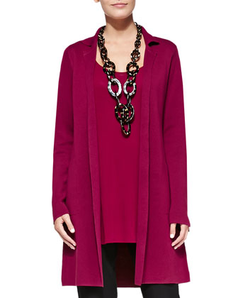 Silk-Cotton Interlock Long Drama Jacket, Long Silk Jersey Tunic & Washable ...