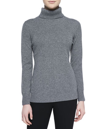 Cashmere Long-Sleeve Turtleneck, Gray