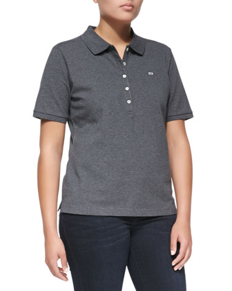 Short-Sleeve Polo, Gray Melange
