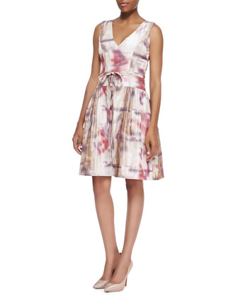 V-Neck Print Silk Cocktail Dress