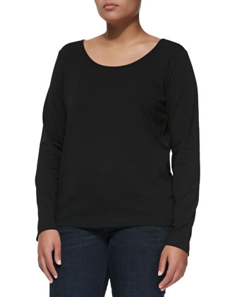 Long-Sleeve Scoop-Neck Knit Blouse, Black