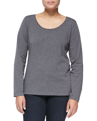 Long-Sleeve Scoop-Neck Knit Blouse, Melange/Silver