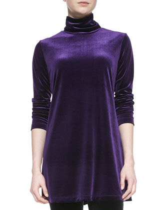 Velour Long-Sleeve Turtleneck Tunic & Cropped Leggings, Women's