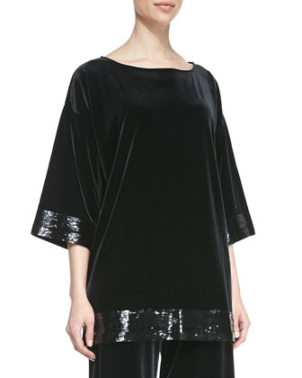 Velour Sequin-Trimmed Tunic, Women's
