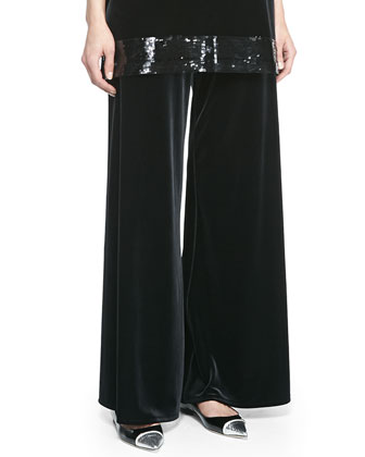 Velour Sequin-Trimmed Tunic & Velour Wide-Leg Pants, Women's