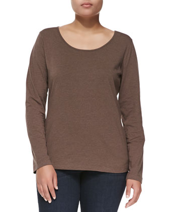 Long-Sleeve Scoop-Neck Knit Blouse, Brown Melange